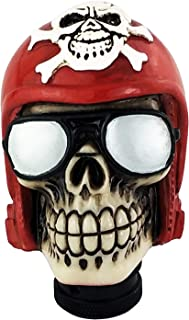 Lunsom Skull Stick Car Knob Pirate Theme Shifter Transmission Shift Stick Handle Shifting Head Fit Universal Automatic Manual Vehicle (Red)