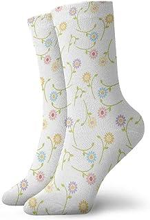 tyui7, Calcetines de compresión antideslizantes de flores coloridas de dibujos animados Calcetines deportivos de 30 cm acogedores para hombres, mujeres, niños