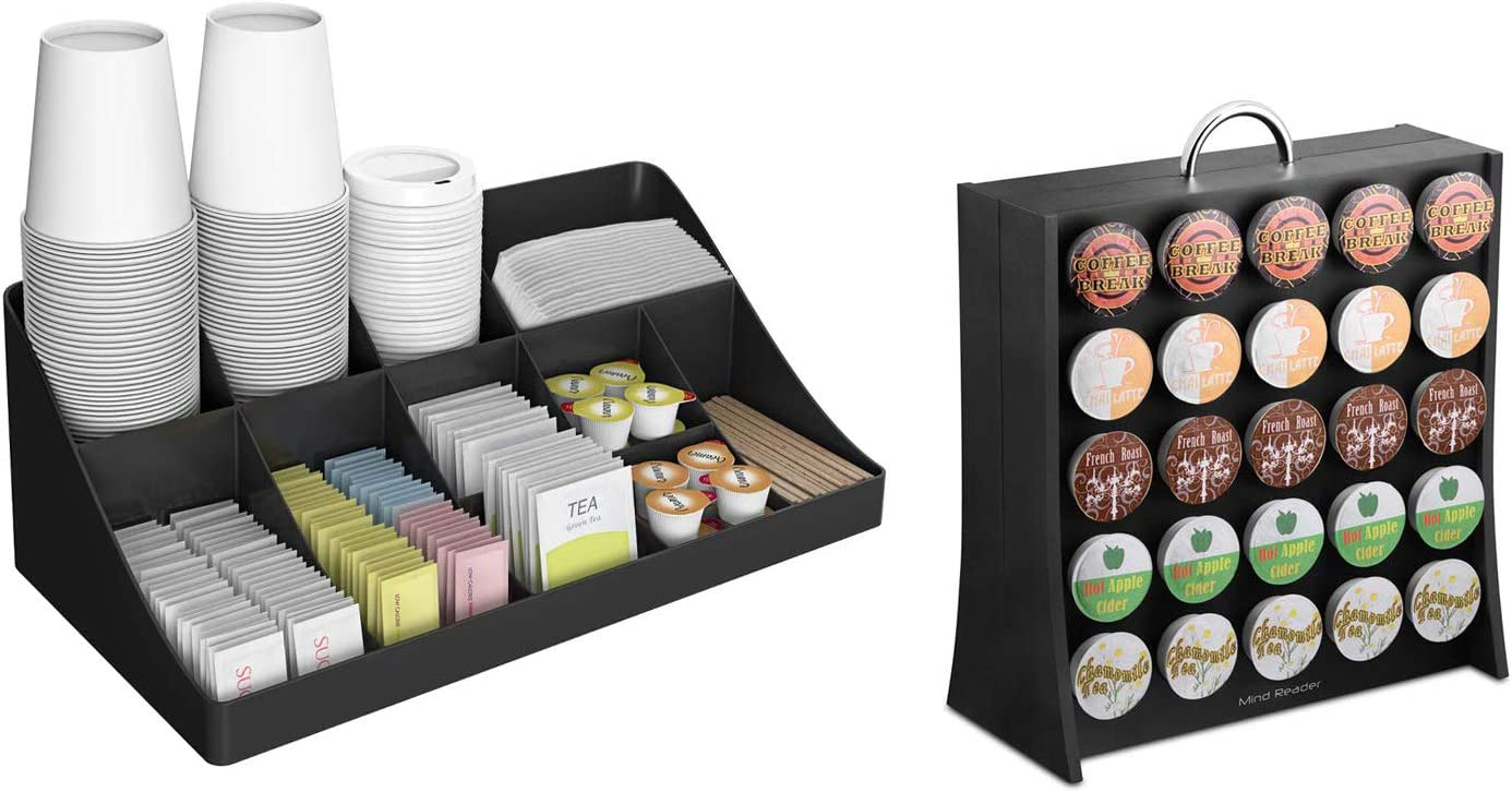 Mind Reader 11 Compartment Condiment 50 Capacity K-Cup Single Serve Coffee Pod Holder Storage Organizer, Black, One Size