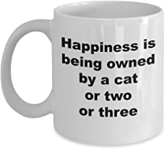 Cat Themed Coffee Mug: Happiness is being owned by a cat
