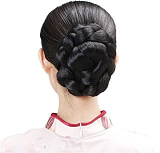 Remeehi Braided Updo Hair Extensions Clip in/on Costume Bun Chignon Hairpieces 1b#
