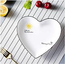 2 creatieve hartvormige plaat zwarte kant klein vers huis fruit snack bord keramische onregelmatige platte plaat hoge temp...