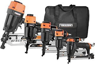 Freeman P5FRFNFWSCB Pneumatic Framing and Finishing Nailers and Staplers Combo Kit with Canvas Bag and Fasteners (5-Piece)