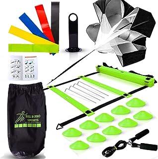 کیت تجهیزات مجموعه آموزش سرعت برتر Premium شامل نردبان ، 10 مخروط با نگهدارنده ، چتر نجات ، طناب پرش ، باندهای مقاومت - ورزشکاران فوتبال ، فوتبال ، بسکتبال ، هاکی