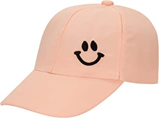 Uphily Pink Kids Cute Adjustable Washed Low Profile Cotton Denim Plain Baseball Cap Hat for Girls Ages 2-5