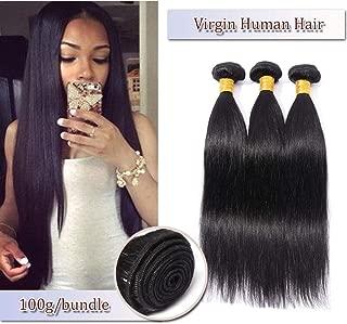 100% Unprocessed Brazilian Virgin Hair Extensions Human Hair Bundles Straight Hair Weaves Human Hair Weft Grade 7A Natural Hair #1B Natural Black 16'' 100g