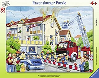 Ravensburger - 06393 2 - Puzzle avec Cadre - Les Pompiers en Action - 39 Pièces