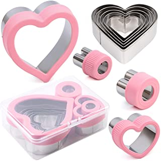 BakingWorld Heart Cookie Cutter Set,6 Piece Heart Shapes Stainless Steel Cookie Cutters Mold for Cakes,Biscuits and Sandwi...