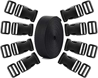 Coopay 1.5 Inch Plastic Buckles Kit Include 8 Pack Side Release Plastic Buckles,8 Pack Tri-Glide Slides with 5 Yards Black Nylon Webbing Strap