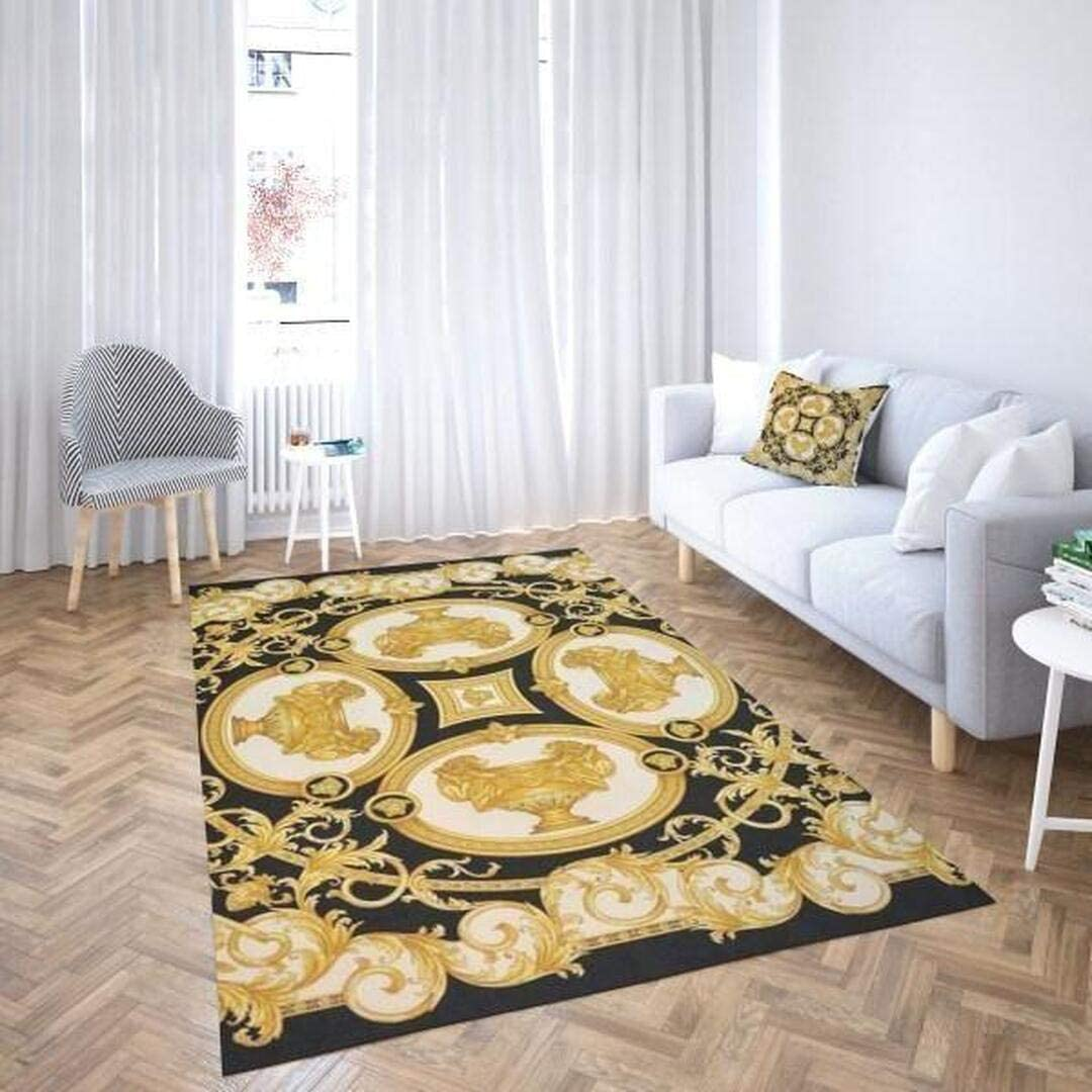 Luxury Gold Pattern Area Rugs Carpet Bath Absorbent Water for specialty Tucson Mall shop Ba