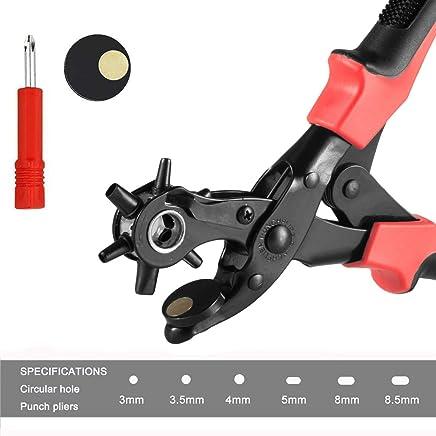 Cinturón agujero perforadora, sacabocados Cuero Agujero de Cuero perfora la Herramienta el Kit para Cinturones y Cuero, con 6 puntas intercambiables