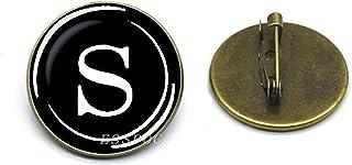 Bronzo Vintage Colore Spilla Lettere Spille Moda Lettera Iniziale Spilla Spille Vestito Distintivi Donna Uomo Gioielli 25 Mm