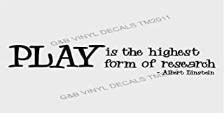 Best play is the highest form of research wall decal Reviews