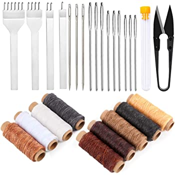 Imzay Leather Sewing Tools, Leather Craft Hand Stitching Tools Leather Hole Punches Lacing Stitching Punch Tool Leather Sewing Waxed Thread and Needle for Leather Working Crafting Projects