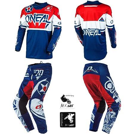 Pants 5//6 ONeal Element Warhawk Blue//Red Kids//Youth motocross MX off-road dirt bike Jersey Pants combo riding gear set 22 // Jersey Kids Small