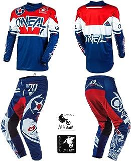 O'Neal Element Warhawk Blue/Red Kids/Youth motocross MX off-road dirt bike Jersey Pants combo riding gear set (Pants 8/10 (24) / Jersey Kids Large)