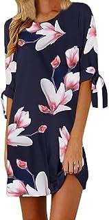 Jarsh - Vestido Suelto para Mujer con Estampado Floral, Lazo de Manga 3/4