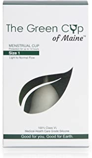 Green Cup of Maine - Proudly Made in Maine USA Menstrual Cup Healthcare Grade Silicone FDA Registered Healthier Alternative to Tampons Worlds best Menstrual Cup Period! Size 1 (Light to Normal Flow)