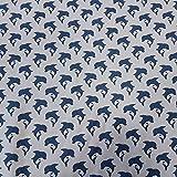 Stoff Baumwollstoff Meterware grau Delfin blau Marine