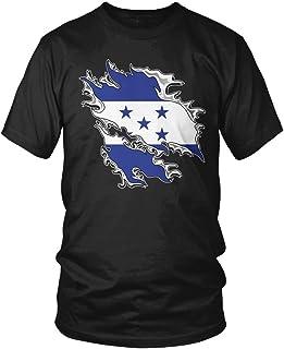 Amdesco Men's Honduras Tear Through Rip Out Honduran Flag T-Shirt