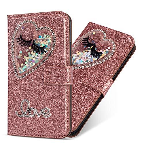 Miagon Hülle Glitzer für Samsung Galaxy A20e,Luxus Diamant Strass Herz PU Leder Handyhülle Ständer Funktion Schutzhülle Brieftasche Cover,Roségold