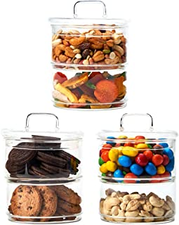 EZOWare 2-Tier Stackable Glass Storage Apothecary Jar Containers with Lid, Ideal for use as Decorative Candy Dish, Snack Food Storage, Cookie Canisters, Bathroom Organizer - Set of 3