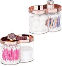 mDesign Divided Bathroom Vanity Countertop Canister Jar with Recessed Storage Lid - Stackable - Double Compartment Organiz...