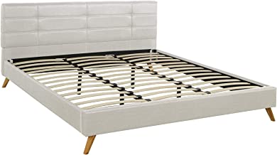 Divano Roma Furniture Mid-Century Linen Platform Bed Frame with Pleated Headboard Design (Queen, Beige)