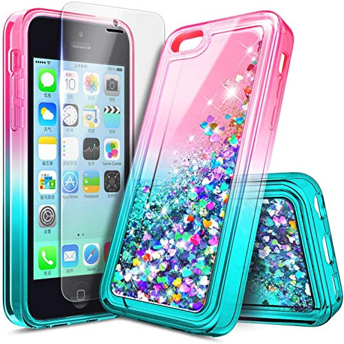NZND Case for iPhone 5C with Screen Protector (HD Clear), Sparkle Glitter Flowing Liquid Quicksand Floating Waterfall Shiny Bling Girls Women Cute Case -Pink/Aqua
