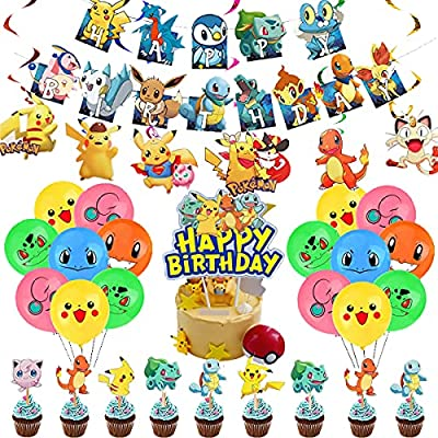 Dan&Y's PTY Pokemon birthday party supplies Pikachu party Banner decoration Baby shower birthday party decorations Video game theme birthday party balloon from Dan&Y's PTY