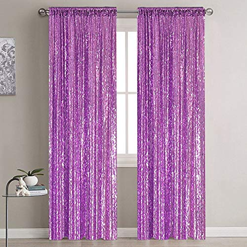 Sequin Bakcdorp Photo Backdrop Glitter Backdrop Sequin Backdrop Curtain 2 Panels Blackout Curtains Photography Payette Sequin Backdrop Outdoor Curtains for Party Wedding (2ftx7ft, Lavender)