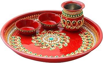 Aditri Creation Diwali Karwa Chauth Special Decorative Puja/Pooja Thali/Platter for Temple Rituals, Mandir Temple Accessor...