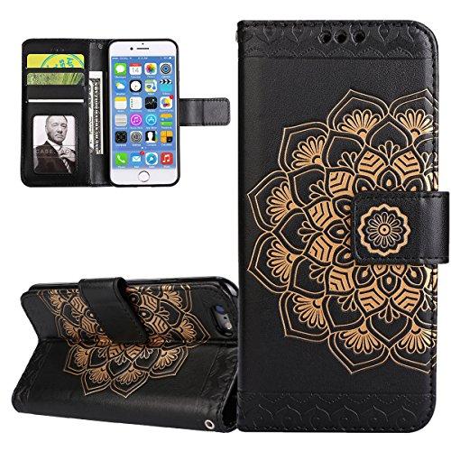 ISAKEN Compatibile con iPhone 6S Plus/iPhone 6 Plus Custodia, Libro PU Pelle Wallet Cover Flip Portafoglio Protezione Caso con Supporto di Stand/Carte Slot/Strap[Shock-Absorption], Fiori: Nero