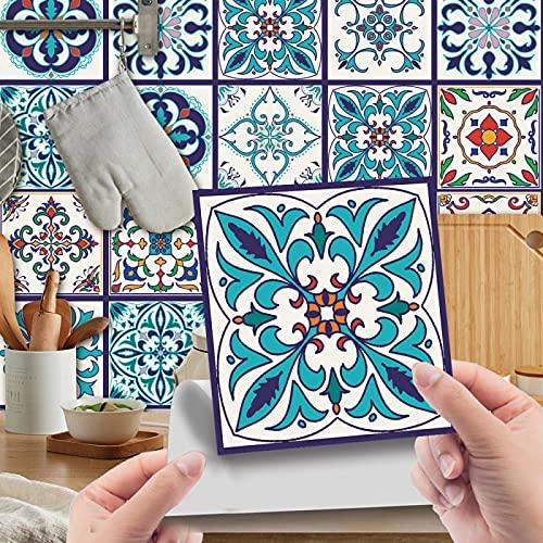 CACAIMAO Pegatinas De Azulejos De Mosaico De PVC, Pegatinas De Pared De Renovación De Decoración del Hogar, Decoración De Pared Autoadhesiva Impermeable Y A Prueba De Aceite 24 Piezas 10cm*10cm