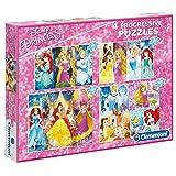 Clementoni- Disney Puzzles 20+60+100+180 Piezas Princess, Multicolor (07721.2)