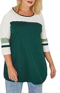 GOSOPIN Women Plus Size Crewneck Colorblock Tunic Short Sleeve Striped T-Shirt