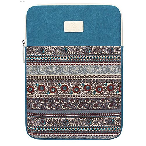 DTWORLD Canvas 14 14.4 Inch Laptop Sleeve Case Cover With Colorful Flower Pattern Ultrabook 13.3' Carrying Bag For 14' Acer/Asus/Dell/iPad Pro/Lenovo/Macbook Pro/Macbook Air/Surface Pro 4 Blue