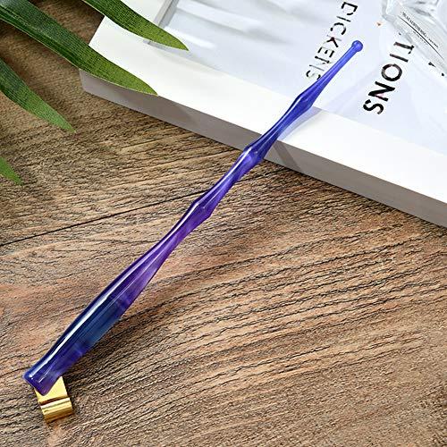 Ronshin, asta inclinata in resina a tre sezioni con testa rotonda immersa in calligrafia inglese (penna non inclusa) No pen tip Asta a tre sezioni blu-viola.