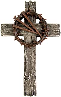 Religious Cross with Thorn Crown and Nails 13 1/2 Inch