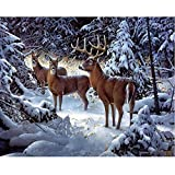 diamond painting kits for adults 5d diy full square diamond painting cross stitch Elk in the snow Scenery mosaic pattern wall sticker gift-11.8x15.7 inches