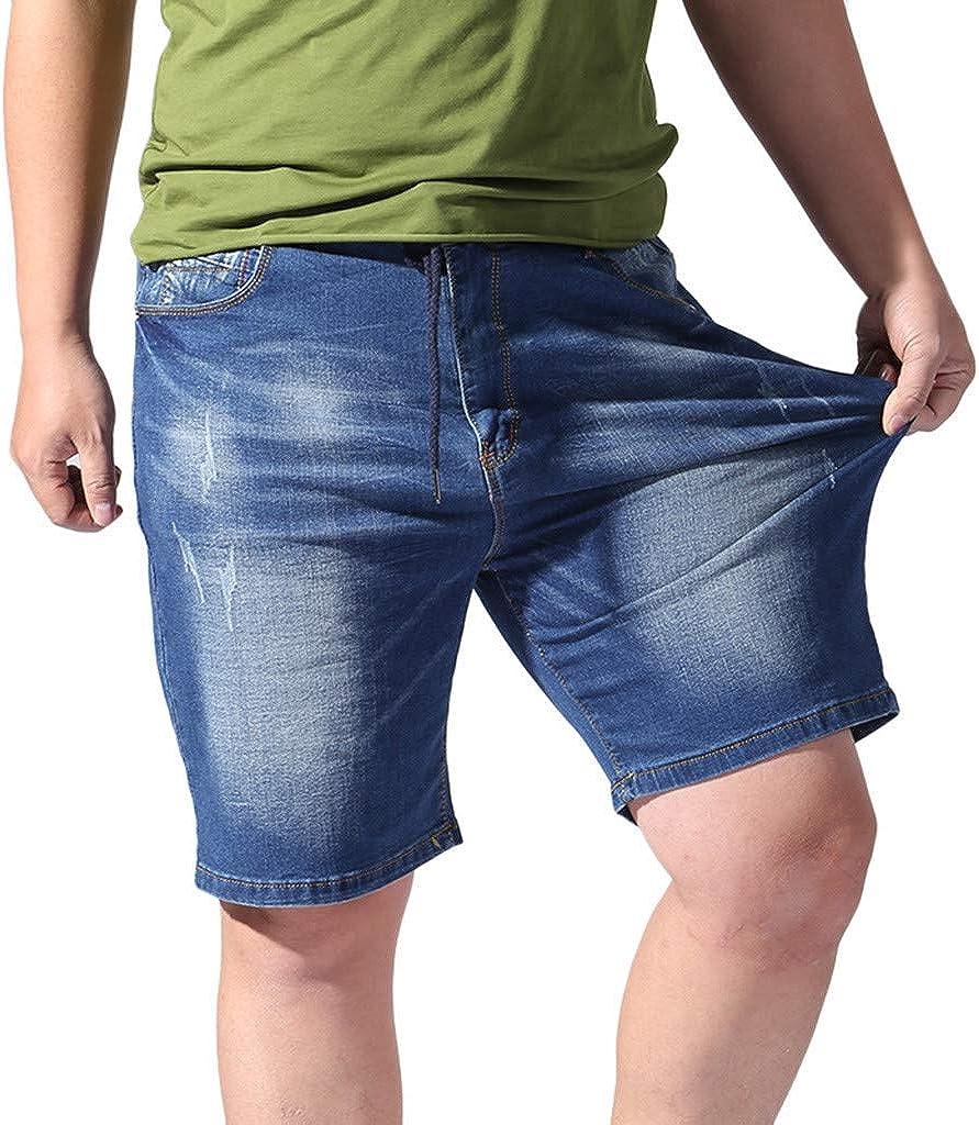 Forthery Men Shorts Casual Denim Men's Slim Biker Denim Jeans Skinny Frayed Big & Tall Elastic Waist Drawstring Shorts
