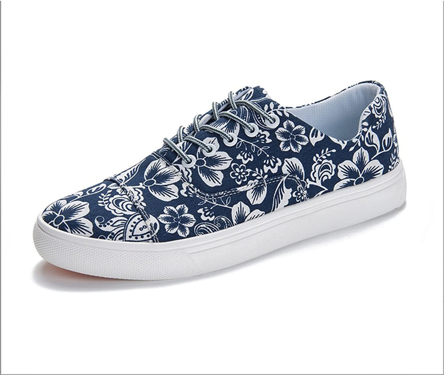 WLJSLLZYQ A Men's shoes Student Canvas shoes Summer Low shoes Breathable Casual shoes Flower Cloth shoes
