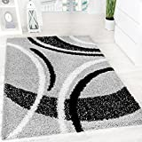 Paco Home Tapis Shaggy Longues Mèches Hautes Motifs Gris Noir Blanc, Dimension:120x170 cm