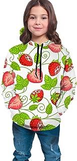 Boys Girls Hoodies Pullover Unisex 3D Strawberry Vine Leaf Print Sweatshirts Hooded with Pocket 6-16Y