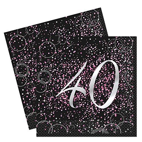 Unique Party- Paquete de 16 servilletas de papel de 40 cumpleaños, Color rosa metálico brillante (57471)