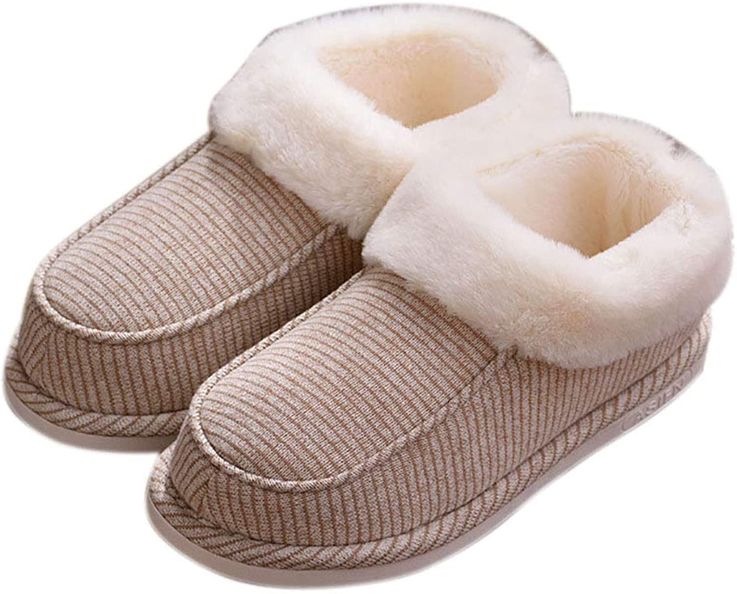 ViewHuge Winter Warm Stripe Slippers,Adults Plush Lined Closed-Back Slippers