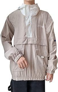 iLUGU Bomber Jacket Men's Autumn Trend Zipper Stitching Jackets for Girls Hooded Thin