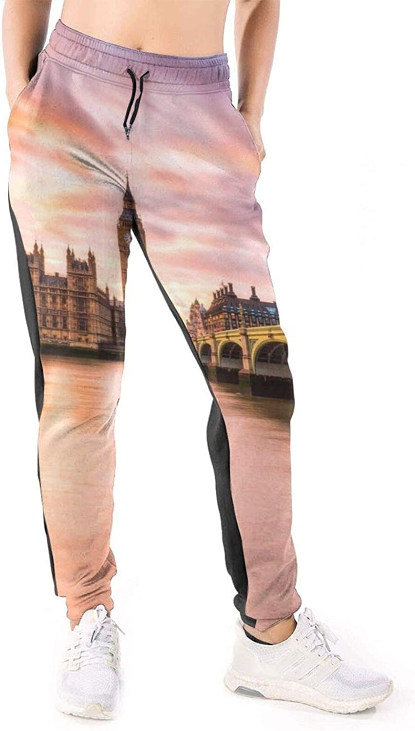 Women Joggers Pants Beautidul UK London Big Ben Athletic Sweatpants with Pockets Casual Trousers Baggy