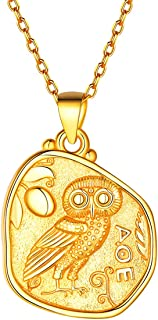 925 Sterling Silver Medal Pendant Unisex 18k Gold Plated Queen Elizabeth,Guardian Angel Raphael,Caesar,Athena&Owl,Virgin Mary,Jesus Coin Necklace 18-20