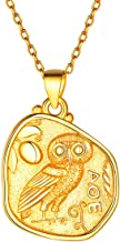 FOCALOOK 925 Sterling Silver Medal Pendant Unisex 18k Gold Plated Queen Elizabeth,Guardian Angel Raphael,Caesar,Athena&Owl,Virgin Mary,Jesus Coin Necklace 18-20